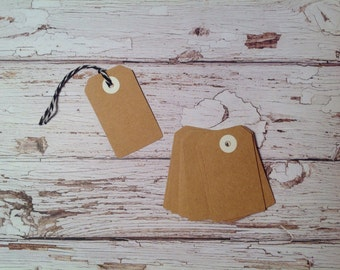 Tiny Gift tags,20 mini Kraft tags, price tags, Kraft cardstock tags, mini gift tags, tags and twine set