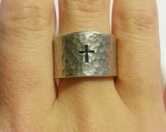 Cross ring - Textured silver ring - Wide band ring - Cross jewelry - Hammered band ring - Adjustable ring  -Open back ring - Ring with cross