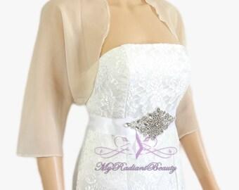 Champagne Chiffon Jacket, Wedding Bolero Jacket, Bolero Shrug, Chiffon Scarf, Silk Jacket, Bridal Faux Fur Wrap, Bridal Shrug LCJ108-CN