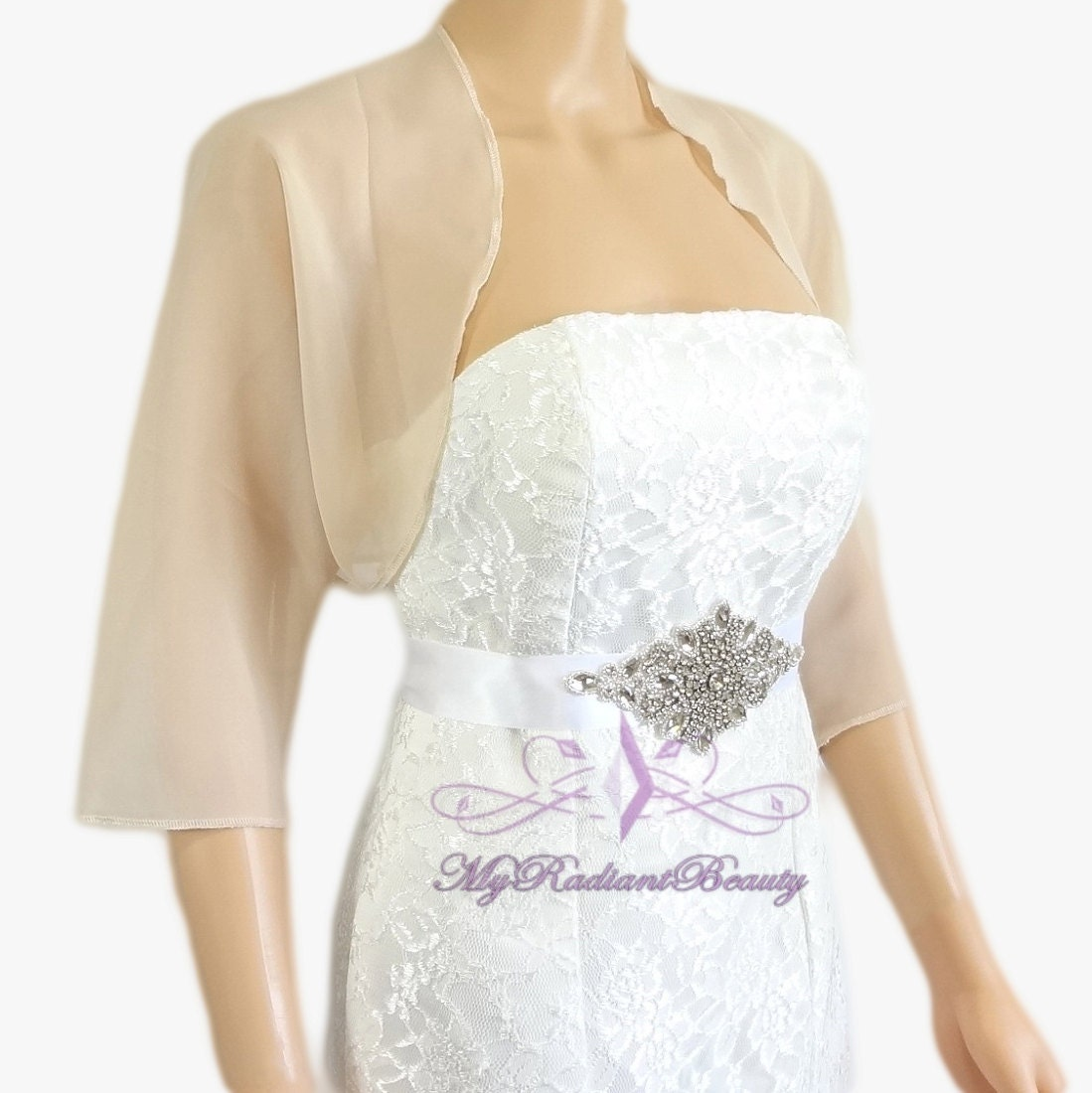 champagne chiffon jacket wedding bolero jacket bolero shrug. Black Bedroom Furniture Sets. Home Design Ideas