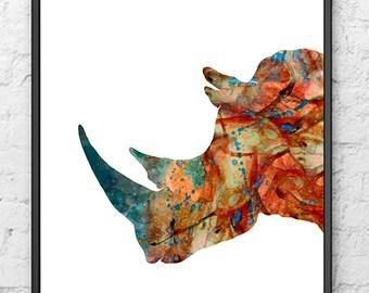 Watercolor Art Print Rhino Painting Animal Art Jungle Art Home Decor, Animal Illustration, Animal Decor, Watercolor Poster - 535