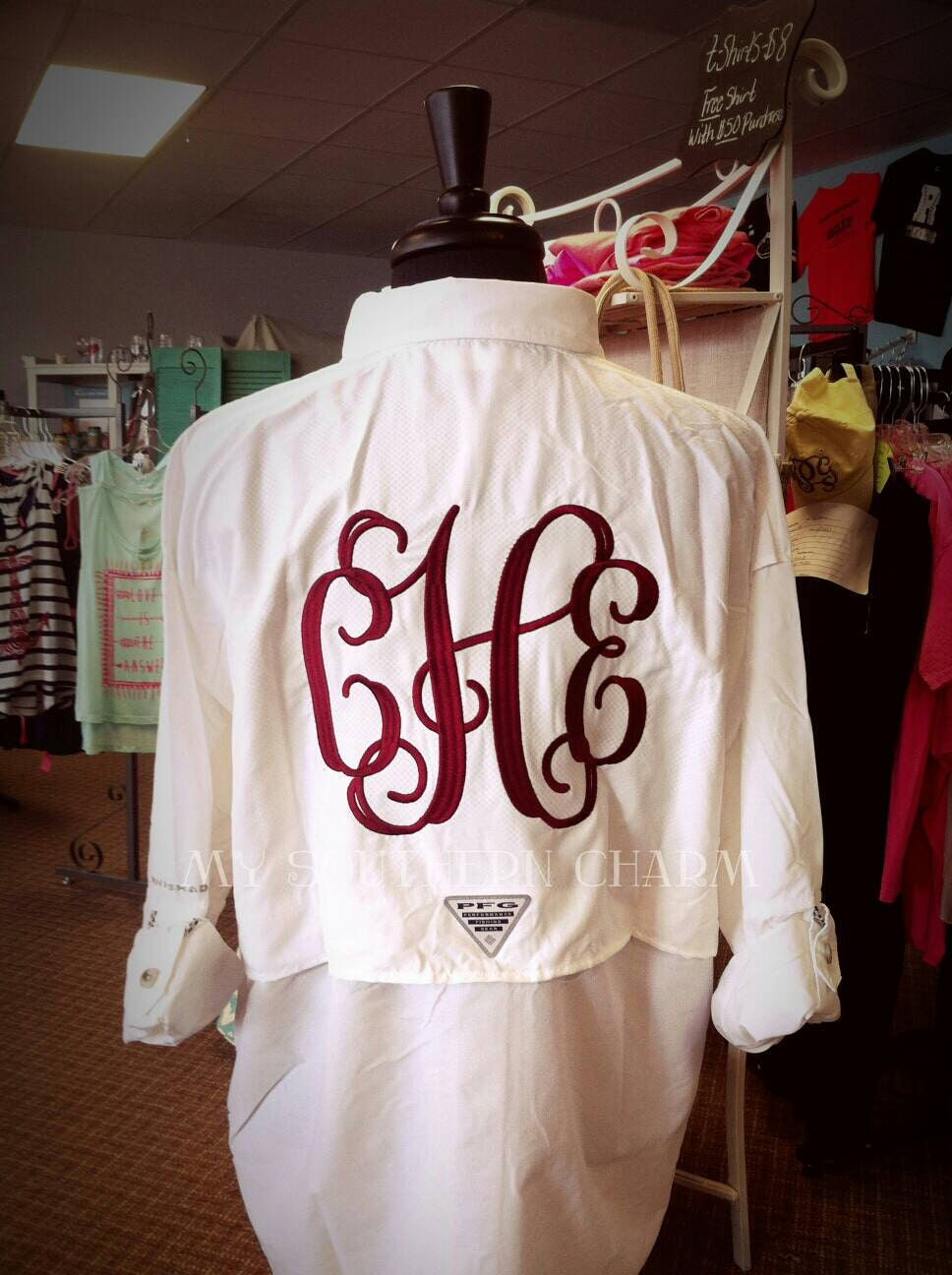 Monogram columbia fishing shirt personalized cover up for swim for Monogram fishing shirt
