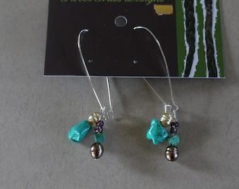 Turquoise beaded closed hoop earrings