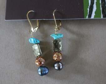 Gold beaded turquoise earrings