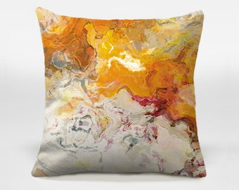 Abstract art pillow, 14x20, 16x16, 18x18, 20x20, red, cream and orange decorative pillow, accent pillow, throw pillow, Summer Love