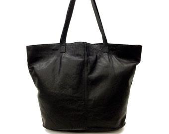 Sale!!! Black Leather tote bag Oversize premium nappa leather bag