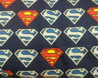 Superman Logo 100% Cotton Flannel Fabric By The Yard