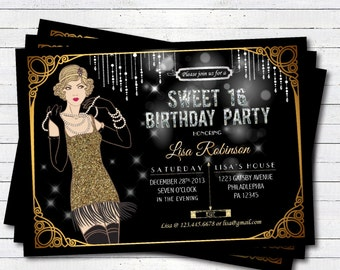 Sweet sixteen birthday invitation. great gatsby flapper black and gold glitter. Printable invitation. Printable Invite. SS001