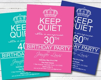 surprise pink 30th birthday party invitation. 50th birthday 60th birthday 70th birthday invite. surprise party keep calm and party AB045