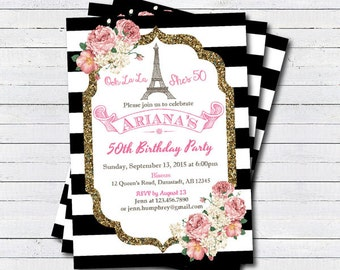 French 50th birthday invitation. Eiffel Tower adult birthday. Black and white stripes pink and gold glitter digital invite AB099