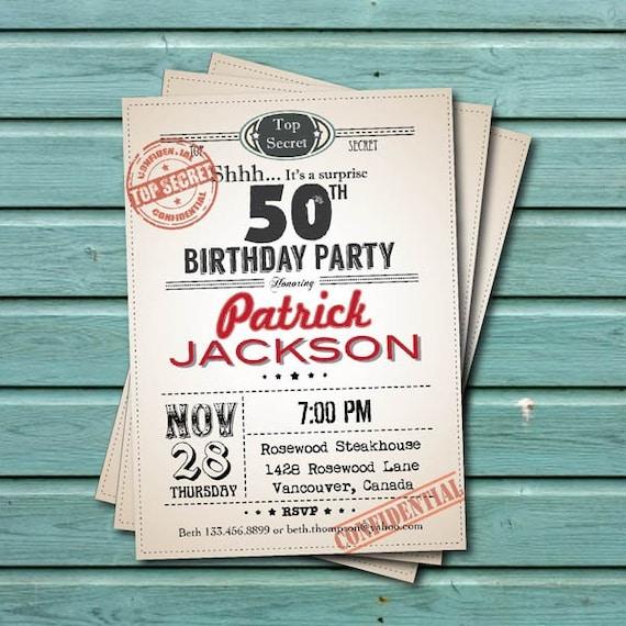 Surprise 50th Birthday Party Invitation. Man Woman. Retro Top