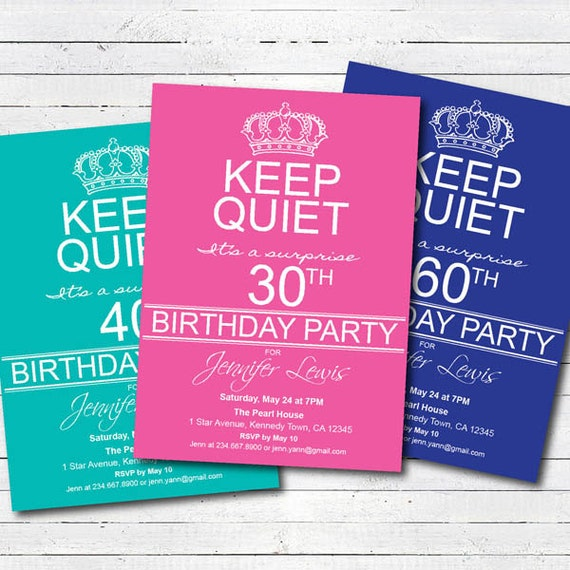 Adult Surprise 40th Birthday Party Invitation. 50th By