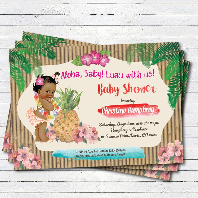 Luau baby girl shower invitation hawaiian vintage african
