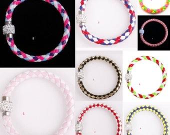 1pc Leather Wrap Wristband Cuff Punk Magnetic Rhinestone Buckle Bracelet