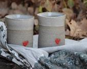 set of two Coffee mugs - pottery coffee mugs with a red heart  - stoneware set of two coffee mugs - curved coffee mugs