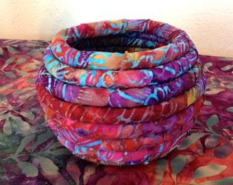 Small Batik Fabric Coiled Pot Basket