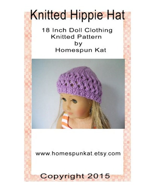 Knitted Hippie Hat 18 Inch Doll Clothing Knitting by ...