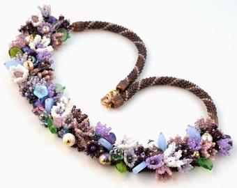 Blooming garden bead woven necklace