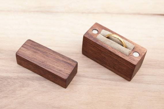 Ring box made from black walnut wood engagement by BelisamaCrafts