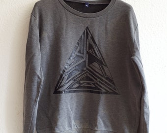 Black triangle synthetic leather sweater. Retro. triangle psychedelic graphic. Penrose triangle. X-Large. extralarge. grey black