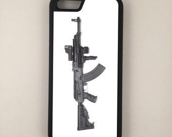 "AK47 Assault Rifle Gun Rights iPhone 6 4.7"" 6 Plus 5.5"" Hybrid Rubber Protective Case 2nd Amendment"