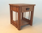 Mission Night Stand, walnut, 1 inch scale, Stickley Arts and Crafts, handcrafted