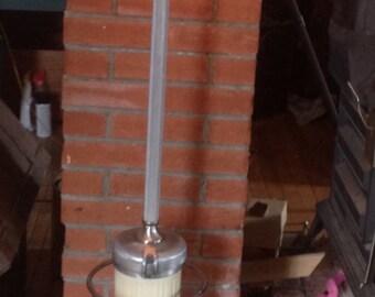 Sanitizer vacuum lamp. Repurposed industrial lamp.