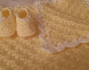 Yellow baby blanket and booties bundle