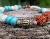 boho bracelet. rudraksha and howlite and quartz. gemstone. hippie jewelry. earthy.