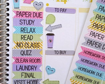 95 College Stickers, School Stickers, Stripes and Dots, Flags, Fits Erin Condren® and others, Kiss Cut, Planning, Scrapbooking, Journaling