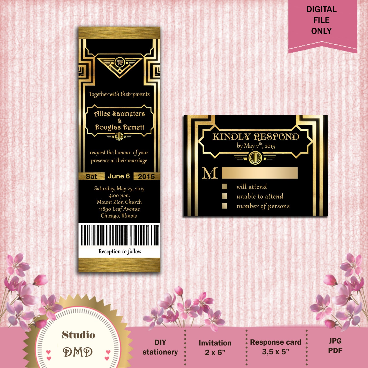 Great Gatsby Style Art Deco Wedding Invitation Suite With