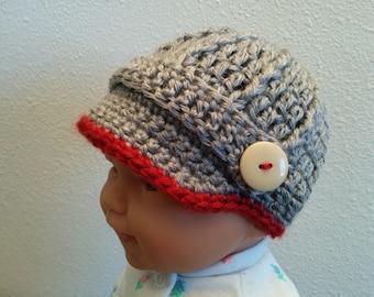 Newsboy Baby Boy Hat,Crochet Baby Boy Visor Hat, Baby Shower Gift, Gift, Newborn Baby Boy Coming Home Outfit, Photo Prop