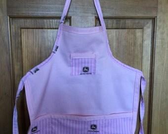 Pink John Deere Children Kids Handmade 3 pocket Apron