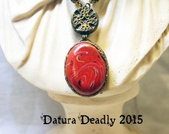 Gothic Crimson Polymer Clay Stone Pendant Necklace