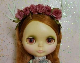 Rose Flower Crown Deer Headband for Blythe