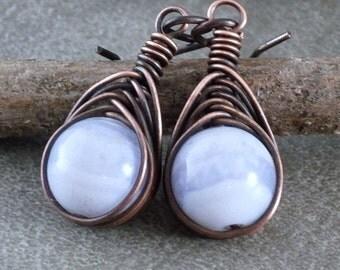 Blue Lace Agate Copper Earrings Antiqued Copper Unique Wire Earrings Herringbone Wrap Chalcedony Blue Dangles Rustic Jewelry Niobium