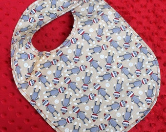 Sock Monkey Baby Boy or Girl Bib