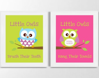 Owl Bathroom Prints - Little Owls Wash Their hands Print, Kids Bathroom Decor, Bathroom Decor, Kids Bathroom Decor, Set of 2 Prints