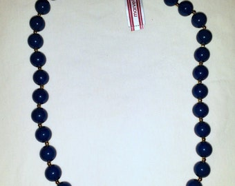 Vintage Marvella Gold Tone Navy Blue 12mm Beads Beaded Necklace