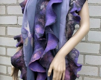 Hand Nunofelted scarf for women