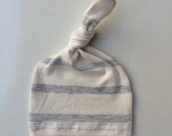 Bamboo Newborn hat, hospital hat, infant hat, baby hat, gender neutral, unisex, knot hat, off white heather gray stripe  READY TO SHIP!!