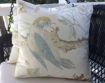 "22"" Lee. Jofa Pillow Cover in ""Somerfield"" blue and gold!"
