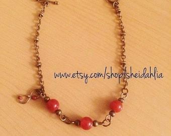 Carnelian bracelet- Natural carnelian stone, Bronze chain, Infinity charm, Infinity, Delicate, Dainty, Carnelian, Gemstone, Summer, For her