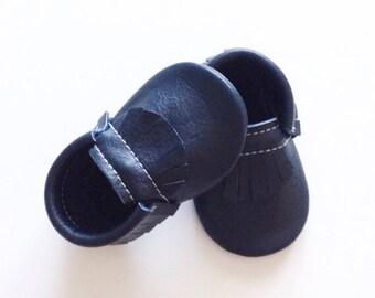 Navy Blue  Leather Fringe Moccasins