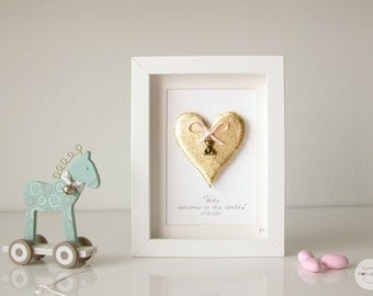 Birth personalized gift, Personalized Gift Boy Girl - Art Frame Heart and pendant Bear - 3D paper - gold leaf - frame with glass