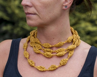 Long crochet infinity necklace, ribbon yarn necklace, mustard, purple