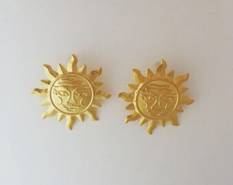 Sun Earrings Gold sun earrings, 18K gold sun earrings