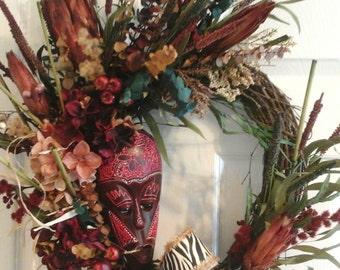 African Wreath, Grapevine Wreath, Hydrangea Wreath,Fall Dry Floral Wreath, Zebra Wreath, Tropical, Eucalyptus Wreath, Elegant  Unique Wreath