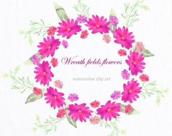 Digital Watercolours clipart hand drawn. Wreath Fields flowers. Romantic wedding, tender, pink and yellow pastel flowers , invitations