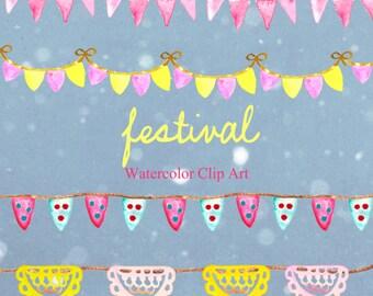 Garlands Festival, tender  romantic floral clip art. Bright color. Vintage design. Boho style.Watercolour texture.